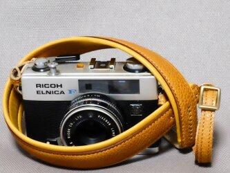 やわらか 革のカメラストラップ キャメルの画像