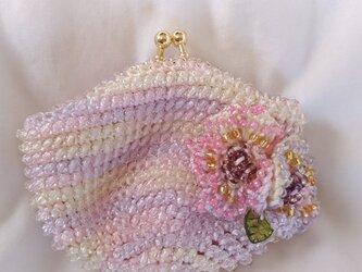 ビーズ編みがま口財布 花付の画像