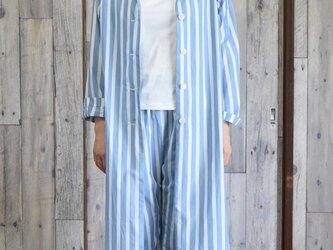ladies shirt coat bansyuori コットン ストライプ シャツコートの画像