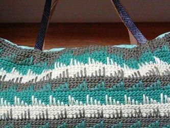 かぎ針編みのバッグ(マチ付き)の画像