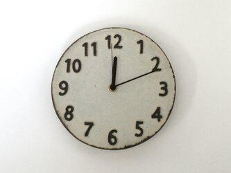 陶シンプル 掛け時計 白の画像