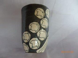 フリーカップ 小 黒地(グレー地)千鳥柄の画像