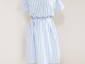 【コットン生地】スカイブルーストライプ柄ウエストゴム入りシャツ風ワンピース♥の画像