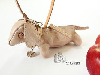 クレーマ子犬キーポーチCucciolo Leather Eyedイタリア製シュリンクレザーの画像