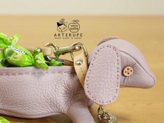 チプリア犬キーポーチCucciolo Leather Eyedイタリア製シュリンクレザーの画像