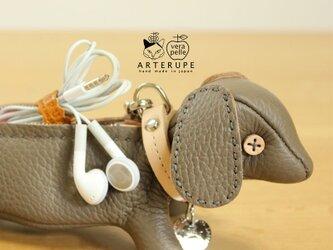 トープ犬キーポーチCucciolo Leather Eyedイタリア製シュリンクレザーの画像