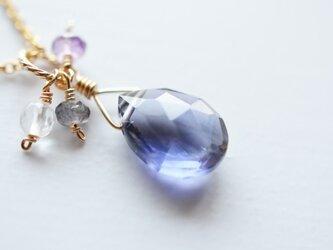 宝石質アイオライト*フラットドロップ*ペンダントトップ【14kgf】の画像