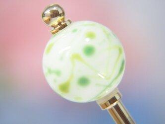 水風船模様とんぼ玉のかんざし 白×緑の画像