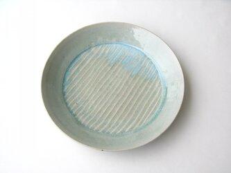 灰釉波紋の大皿 (送料無料)の画像