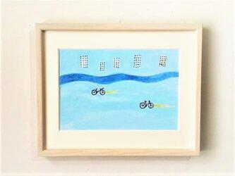 「水色の町で」イラスト原画 ※額縁入りの画像