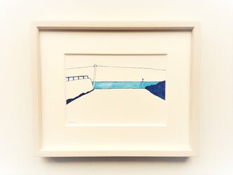 「坂道の向こうに」 イラスト原画 ※木製額縁入りの画像