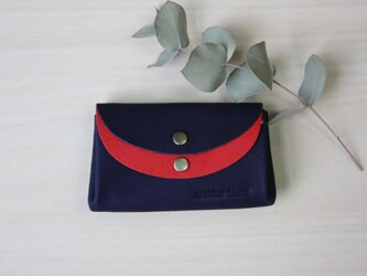 ピッグスキンの小さなお財布 ネイビー×レッドの画像