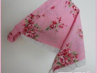 レースの三角巾−子供用(ピンク)の画像