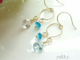 宝石質スカイブルートパーズ*ネオンブルーアパタイト14Kgfグリッターピアスの画像