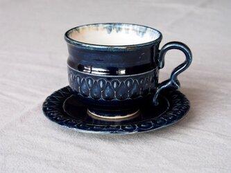 ルリ釉 カップ&ソーサ(鍵手)の画像