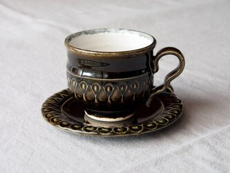 オリーブ色釉 カップ&ソーサ(鍵手)の画像