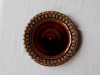こげ茶色釉 パン皿 (しずく模様)の画像