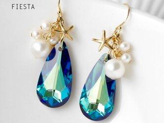 【14kgf】スワロフスキーと真珠のスターフィッシュピアス(イヤリングOK)の画像