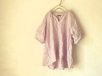 【受注製作】国産リネン100%ストライプ Aラインキーネックシャツ パープル系の画像