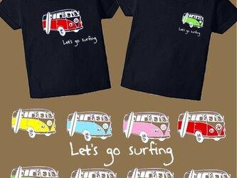 Let's go surfingカラフルバスTシャツ★イニシャル&数字入れられます★70~大人サイズまで★の画像