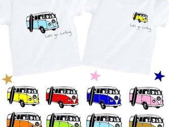 Let's go surfingカラフルバスTシャツ★イニシャル&数字入れられます★70~大人サイズまでの画像