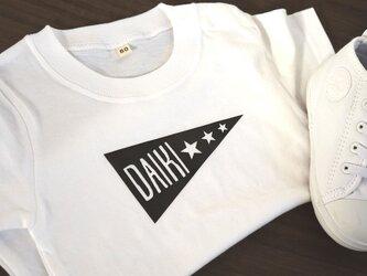 お名前入れられます★フラッグデザインTシャツ★女の子は星をハートにもできます♪70~大人まで★赤ちゃんも★お揃いコーデもの画像