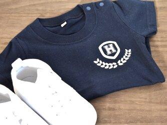 イニシャル入れられます★シンプルカレッジTシャツ★70~大人まで★赤ちゃんも★お揃いコーデも出来ます♪の画像