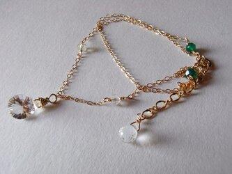 14kgf(2連)宝石質クリスタルとグリーンメノウのブレスレットの画像