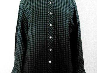 麻・長袖チェックシャツ(グリーン裾ボカシ染)の画像