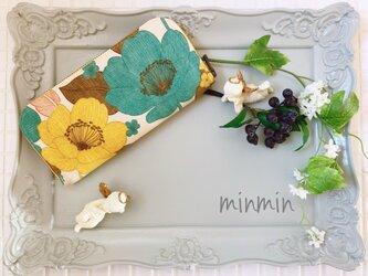 大人かわいい布財布 イエロー×ブルー花柄の画像
