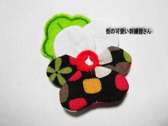 ★お花のパンジーアップリケ★刺繍ワッペン★アイロン接着★の画像