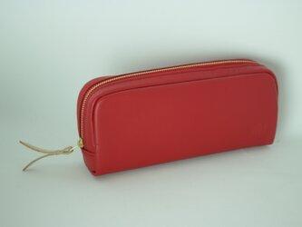 柔らかなポーチ ホースレザー ペンケース レッド 化粧ポーチ 赤apo-06paの画像