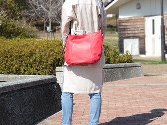 柔らかな本革ショルダーバッグ 軽量 ポニースムース レッド 馬革 赤【送料無料】ak-20psの画像