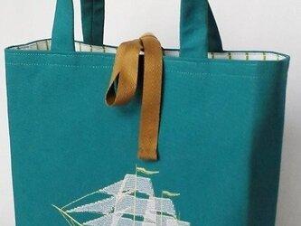 刺繍入り帆布バッグ 帆船 ターコイズ(濃)の画像