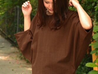 ドルマンスリーブ・黒檀染めプルオーバーシャツの画像