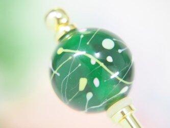水風船模様とんぼ玉のかんざし 透明緑の画像