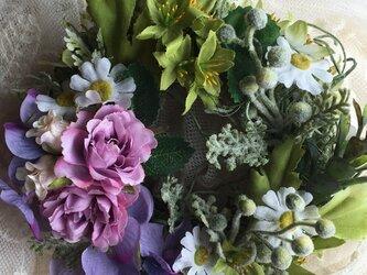 ピンクの薔薇と紫陽花のミニリースの画像