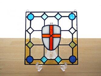 ステンドグラス ミニパネル 盾 15cmの画像