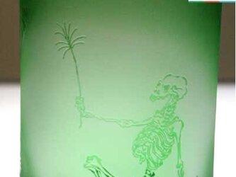 河鍋暁斎シリーズ 骸骨の花火見立て 緑色(ロックグラス) 蕨ブランド認定商品 送料無料の画像