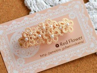 *送料無料* レース編み タティングレース ベージュの花束バレッタの画像