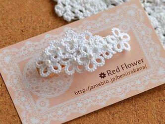 *送料無料* レース編み タティングレース ホワイトの花束バレッタの画像