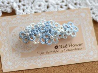 *送料無料* レース編み タティングレース ブルーホワイトMIXの花束バレッタの画像