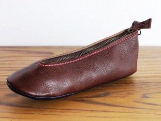 靴型ペンケース DBR×NV #2-3 (イタリアンレザー)の画像