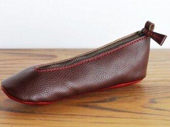 靴型ペンケース DBR×RD #2-4 (イタリアンレザー)の画像