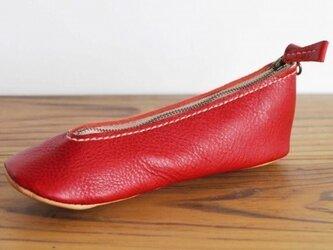 靴型ペンケース RD×BG #5-1 (イタリアンレザー)の画像