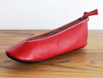 靴型ペンケース RD×NV #5-2 (イタリアンレザー)の画像