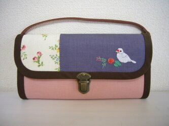 白文鳥 手刺繍の長財布(送料無料)の画像