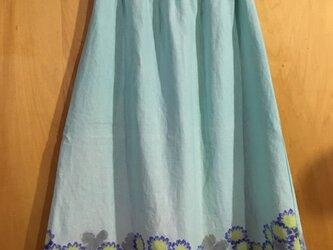 手描き染め 麻のスカート*ペパーミントの花畑*の画像