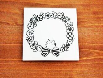 猫のお花メモ用紙の画像