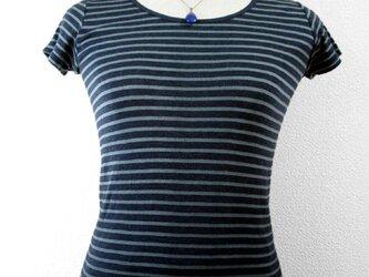半袖Tシャツ(Uネック・ボーダー・青味グリーン濃淡ボカシ染)の画像